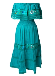 Mexican Pueblo Crochet Dress - Teal