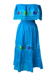 Mexican Pueblo Crochet Dress - Turquoise