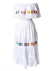 Mexican Pueblo Crochet Dress - White