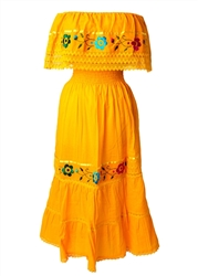 Mexican Pueblo Crochet Dress - Yellow