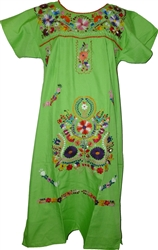 Embroidered Pueblo Dress - Lime Green (Large)