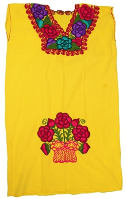 Embroidered Pueblo Dress - Yellow Floral