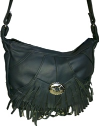 Fringe Blue Leather Purse - 3 pockets