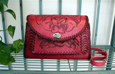 Hand Tooled Leather Purse - 8 pockets