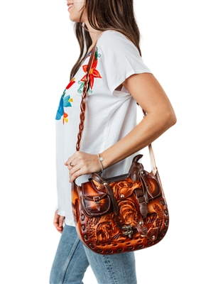 Hand Tooled Leather Purse - 3 pockets
