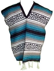 Kids Mexican Poncho - Baby Blue
