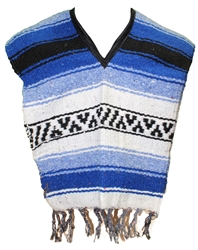 Kids Size Mexican Blanket Poncho - Blue 1