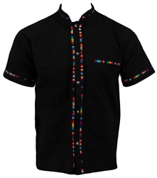 Men's Fiesta Button Down Shirt - Black