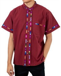 Men's Fiesta Button Down Shirt - Burgundy