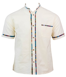 Men's Fiesta Button Down Shirt - Creme