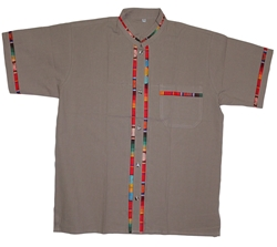 Men's Fiesta Button Down Shirt - Dark Tan