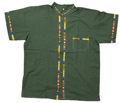 Men's Fiesta Button Down Shirt - Olive Green