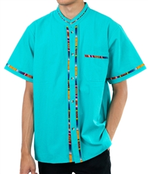 Men's Fiesta Button Down Shirt - Teal