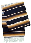 Serape Mexican Blankets - Black Tan