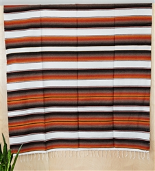 Serape Mexican Blankets - Creme/Rustic Brown