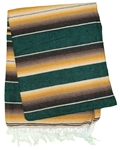 Serape Mexican Blankets - Green Tan