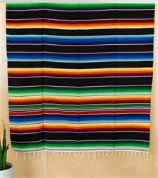Serape Mexican Blankets - Multi Black