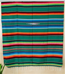Serape Mexican Blankets - Multi Green