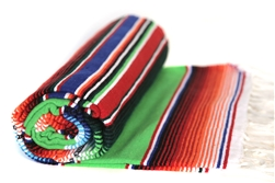 Serape Mexican Blankets - Multi Lime Green