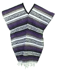 Mexican Blanket Poncho - Purple