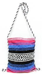 Mexican Blanket Bag - Pink/Blue