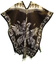 Heavy Blanket Mexican Poncho - Gallos 2 (Brown)