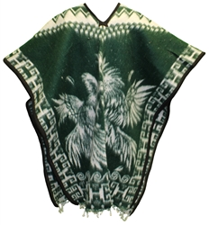 Heavy Blanket Mexican Poncho - Gallos 3 (Green)