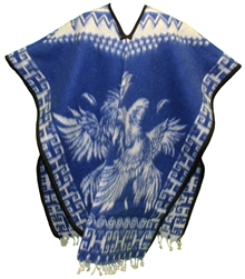Heavy Blanket Mexican Poncho - Gallos 4 (Blue)