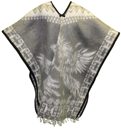 Heavy Blanket Mexican Poncho - Gallos 5 (Gray)