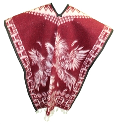 Heavy Blanket Mexican Poncho - Gallos 6 (Red)
