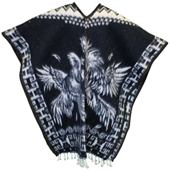 Heavy Blanket Mexican Poncho - Gallos 7 (Navy Blue)