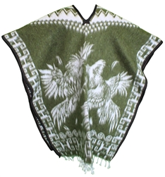 Heavy Blanket Mexican Poncho - Gallos 8 (Olive)