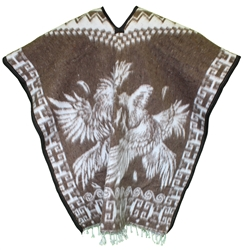 Heavy Blanket Mexican Poncho - Gallos 9 (Light Brown)
