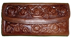 Embossed Leather Wallet - Brown