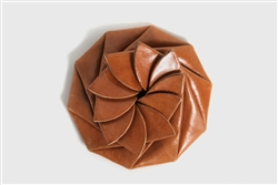 Flower Coin Leather Purse - Tan