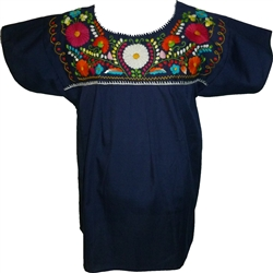 Embroidered Pueblo Blouse - Navy Blue (X-Large)