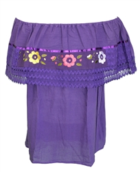 Mexican Campesina Crochet Blouse - Purple