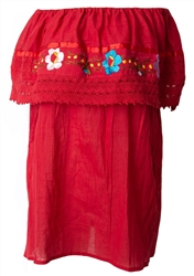 Mexican Campesina Crochet Blouse - Red