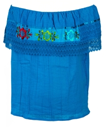 Mexican Campesina Crochet Blouse - Turquoise