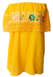 Mexican Campesina Crochet Blouse - Yellow