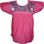 Embroidered Pueblo Blouse - Fuschia (Small)