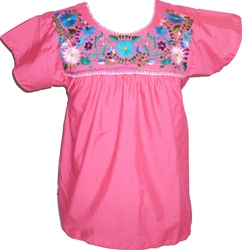 Embroidered Pueblo Blouse - Fuschia