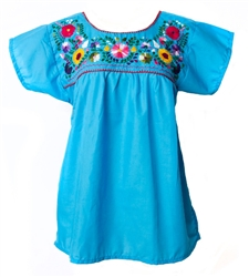 Mexican Embroidered Pueblo Blouse - Turquoise