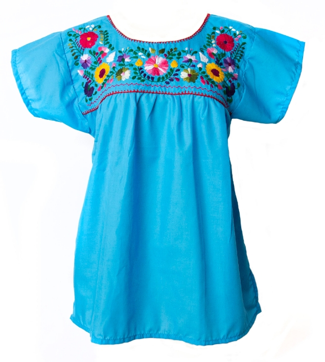 Embroidered pueblo blouse turquoise