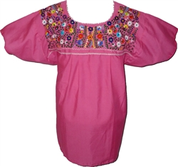 Embroidered Pueblo Blouse - Fuschia (Large)