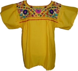 Embroidered Pueblo Blouse - Yellow (Large)