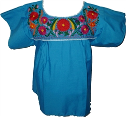 Embroidered Pueblo Blouse - Blue (Large)