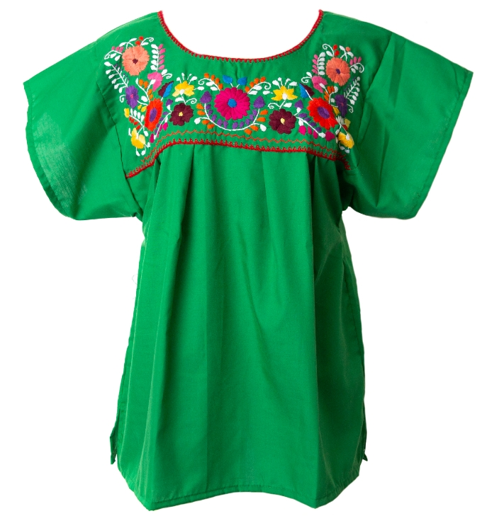 Embroidered pueblo blouse green