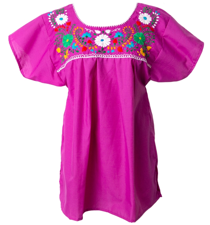 Embroidered pueblo blouse magenta
