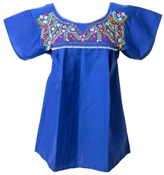 Mexican Embroidered Pueblo Blouse - Royal Blue